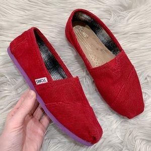 TOMS Corduroy Leather Color-Block Slip-On Flats 6